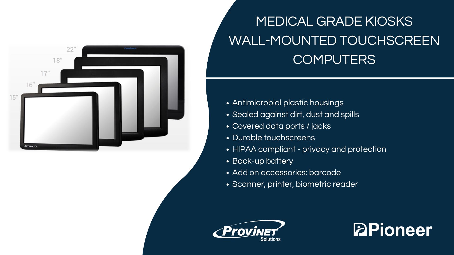 Medical Grade Kiosks Wall-Mounted Touchscreen Computers