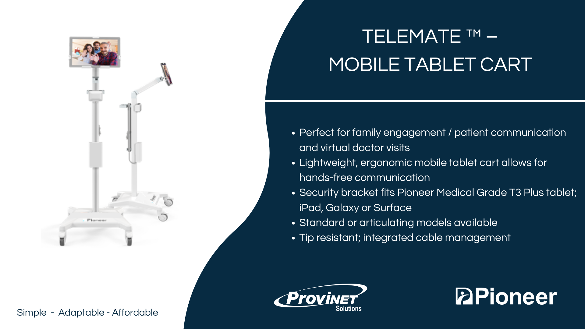 TeleMate ™ – Mobile Tablet Cart