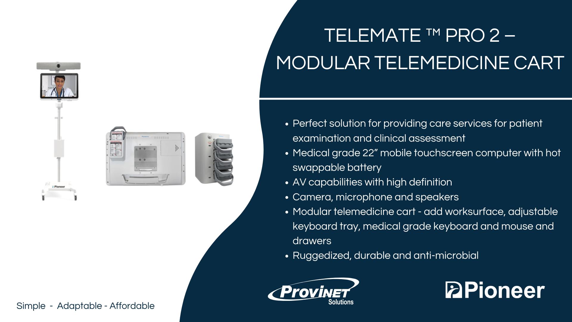 TeleMate ™ PRO 2 – Modular Telemedicine Cart